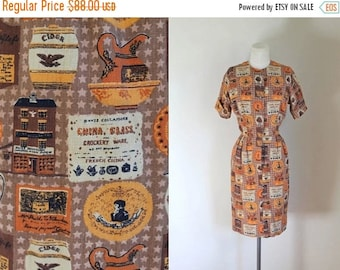 AWAY SALE 20% off vintage 1960s novelty print dress - GENERAL Store print shirt dress / S