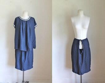 vintage 1950s maternity dress set - NAVY BABY blouse & skirt set / M