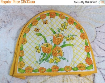 15% OFF Retro 70s 80s Toaster Cover Yellow Quilted Floral The Kitchenworks