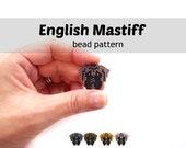 English Mastiff Dog Beading Pattern, Brick Stitch