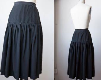 Vtg Black SILK High Waist Gathered Midi Skirt XS