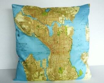 SALE SALE SALE Cushion cover city maps Seattle decorative pillow eco friendly organic cotton map cushion, map pillow,16x16 inch pillow