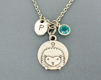 Cute hedgehog necklace-Personalized hand stamped initial necklace with birthstone-Monogram necklace-Birthday personalized gifts for her