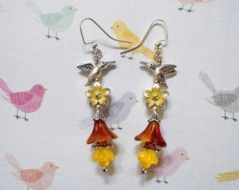 Yellow, Red and Silver Hummingbird and Flower Earrings (3701)