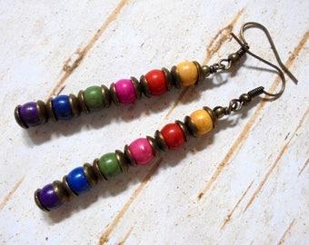 Rustic Boho Rainbow Earrings (3711)