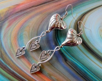 Silver Scroll Heart Earrings (4194)