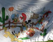"""Disney vintage pillowcase 28 1/4 by 20"""" Mickey Mouse Donald Duck, Goofy and Pluto in the southwest around a campfire cactus butte"""