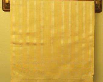 Vintage Yellow Stripe and Floral Embossed Cotton Linen Dish Kitchen Huck Towel