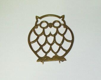 Vintage Brass Owl Trivet Retro Kitchen Utensil Made India Decor Retro Vintage Owl Trivet 1017