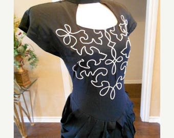 ON SALE NOW 80s Steampunk Bombshell Dress / Sue Wong 80s does 40s Dress / Bombshell Dress / S 4 6