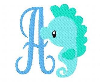 Sea Horse // Beach //Machine Embroidery Monogram Font Set // Summer Embroidery Design //Beach Embroidery Design // Joyful Stitches