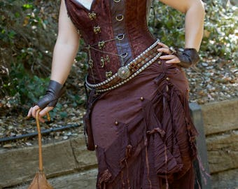 Steampunk Brown Ruffle Skirt,XXLarge Asymmetrical Crinkle Skirt,Pirate Wrench Costume,Burning Man Clothing,Gypsy Skirt,Bohemian Ruffle Skirt