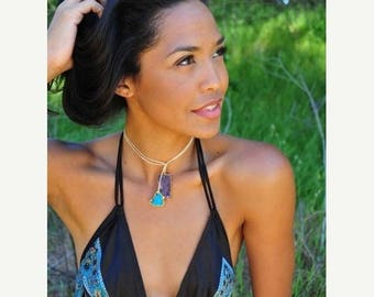 XMAS IN JULY Peony Ra /// Turquoise and Amethyst /// Lariat Wrap Necklace /// Bohemain Layering Necklace