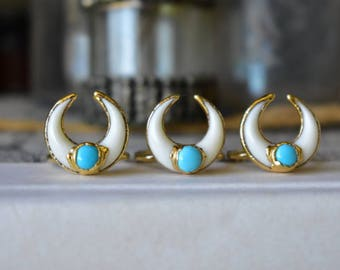 REVERIE RING /// Turquoise & Gold Crescent Horn Necklace