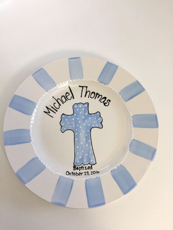 Personalized Baptism gift, Personalized Christening plate, Baptism keepsake plate, First Communion gift, Personalized Baptism plate
