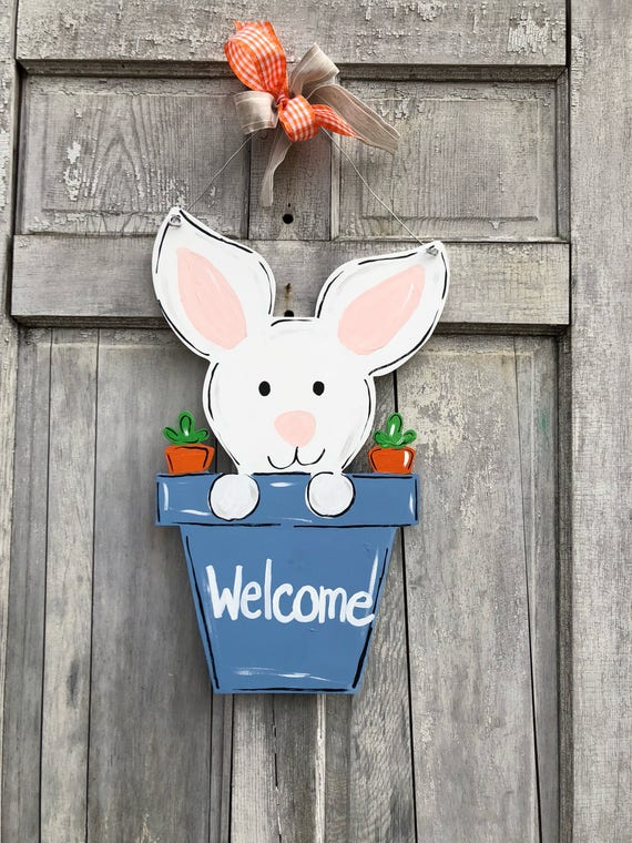 Hand painted, personalized, Easter, Bunny, door hanger, wall sign or Easter decoration, spring door hanger, welcome spring, bunny in pot