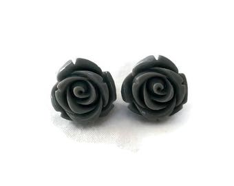 Gray Rose Earrings, Medium Size, Resin Flower Studs, Vintage Style, Retro, Rockabilly, Pinup, Floral, Feminine