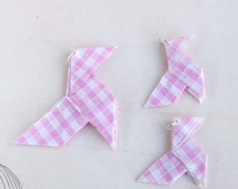 """3 charm bird Pearl pendant """"cocotte"""" pink gingham, polka dot origami pendant charms beads"""