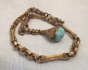 Turquoise Watch Fob & Chain