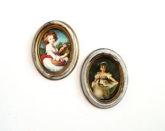 """Vintage Italian Florentine Gold Gilt Oval Frame Portrait Pictures - Victorian Girls - Wall Art - 4 1/2"""" x 3 1/2"""" - Set of 2 - Signed ITALY"""
