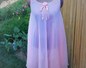 Vintage Nightgown-60s-Pink Nightgown-lingerie-sheer sleepwear-flowing gown