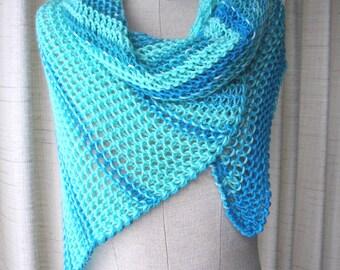 AZURE BLUE Hand knit Asymmetrical Shawl Triangle Scarf Wrap in Anti Pill Acrylic / Color Block Stripes