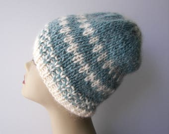 ICELANDIC WOOL Chunky HAND Knit Beanie Ski Hat Blue White Snowflex/ Classic Icelandic pattern knit hat