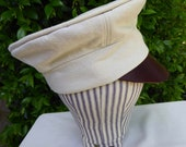 Off white man's wheel hat, mechanic's hat, 19th century, size large