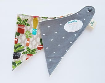 Bandana Bibs for teething, drooling, babies, and toddlers, bibdanas, bib, baby shower, gift, succulent, cactus, gray, triangles, set of 2