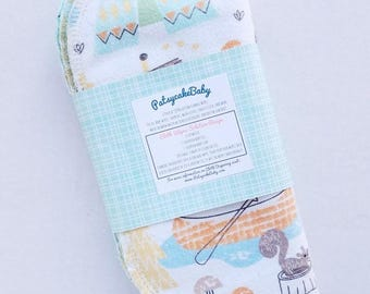Cotton flannel baby wipes or wash cloths with camping bears, double layer, set of 6, outdoor, woodlands, camp