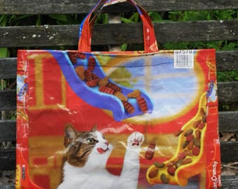 NEW LOW PRICE, Medium  Friskies Cat Food Tote,  Grocery, Market, Utility Tote or Gift  Bag for  Cat Lovers
