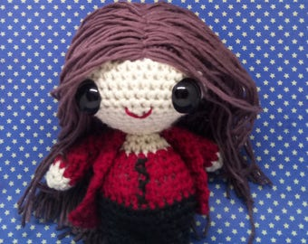 Scarlet Witch Wanda Maximoff amigurumi style PDF crochet pattern inspired by the Avengers