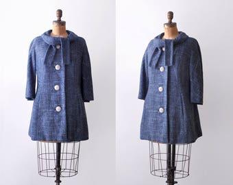 1960's tweed coat. mod. 60's blue car coat. wool. M. cropped.