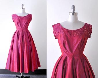 50's party dress. vintage. XS full dress. 1950 red dress. taffeta. rhinestones. pink