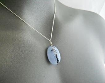 Lace Agate Necklace - Lavender Blue Necklace, Pebble Jewelry, Light Blue Necklace, Lavender Quartz Necklace, Wire wrapped Unique Necklace
