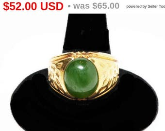 Spring Fling Sale 10K Gold Filled Green Gemstone Ring for Men - Signed Sterling and C & C - Combs and Clark Cigar Band Style Ring - Vinta...