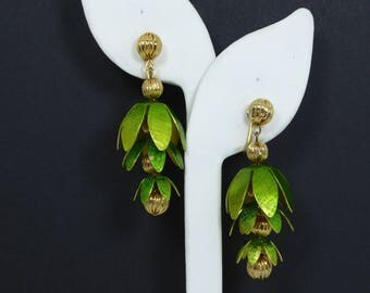Dangling Green Leaves Earrings - Clip on Earrings, Green Enamel over Metal Flower Petals and Gold Tone Ball Beads, Vintage 1960s MOD Jewelry