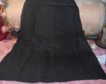 Antique Fabric Remnant Victorian Black Wool