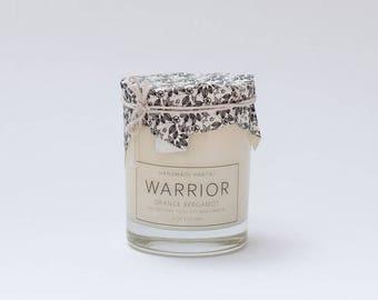 WARRIOR Yoga Candle - Orange Bergamot - 14 oz - all natural, eco-friendly 100% soy wax candle