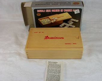 Vintage Like New in Original Box Apex Double Nine Dominoes in Wooden Case Henry Wedemeyer Inc.