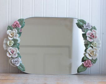 Vintage Dresser or Vanity Mirror Tray with Porcelain Flowers, Fancy Cottage -  Shabby Chic Bedroom Decor
