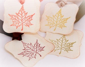 Vintage Inspired Thanksgiving Gift Tags (Double Layered) - Fall Rustic Leaf Tags - Autumn Leaves - Place Setting - Napkin Rings (Set of 8)