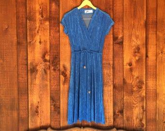 Vintage 70s Electric Blue Terry Sun Dress
