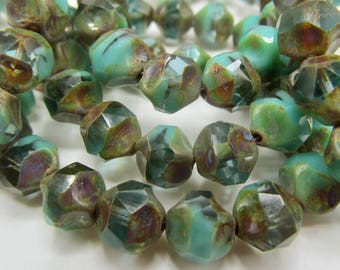 15 Czech Glass Fire Polish Translucent Aqua/Opaque Green Turquoise Center Cut with Picasso Finish 9mm size