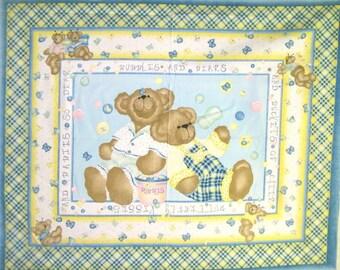 Teddy Bear Panel, Teddy Bear Fabric, Quilt Panel, Cotton Fabric, Baby Panel, Quilt Top, Baby Quilt Top, Cheater Quilt, Bear, Fabric, Panel