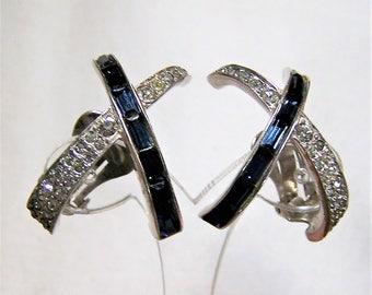 Dimensional Sapphire Blue Crystal Rhinestone Earrings, Criss Cross Design Earrings, Clip On Earrings, Bridal Something Blue 617