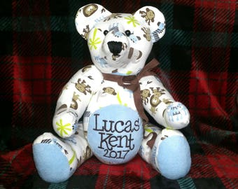 Keepsake bear from baby's pajamas sleeper nighty stuffed animal memorabilia transitional pattern detail Handmade custom rice beautiful soft