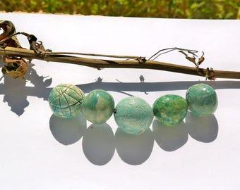 """L'atelier de jacquelina    """" 5 perle rustique  en ceramique/ handmade  9bead ceramic rustic  """""""