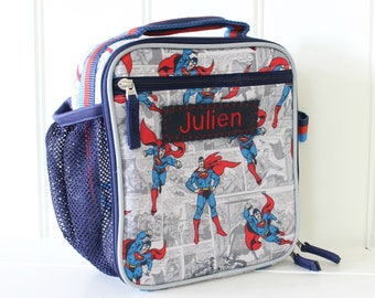 Superman Kids Lunch Box Personalized (Pottery Barn) -- Allover Superman
