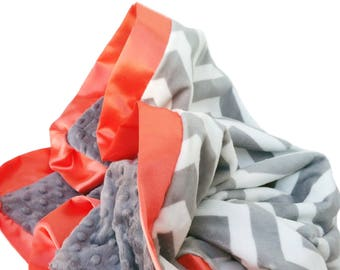 Gray and White Minky Chevron Baby Blanket with Orange Flat Satin Trim, Stroller Size